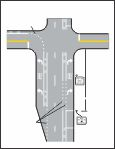 MUTCD - Figure 9C-1 - Example of Intersection Pavement Markings - Designated Bicycle Lane with Left-Turn Area, Heavy Turn Volumes, Parking, One-Way Traffic, or Divided Highway