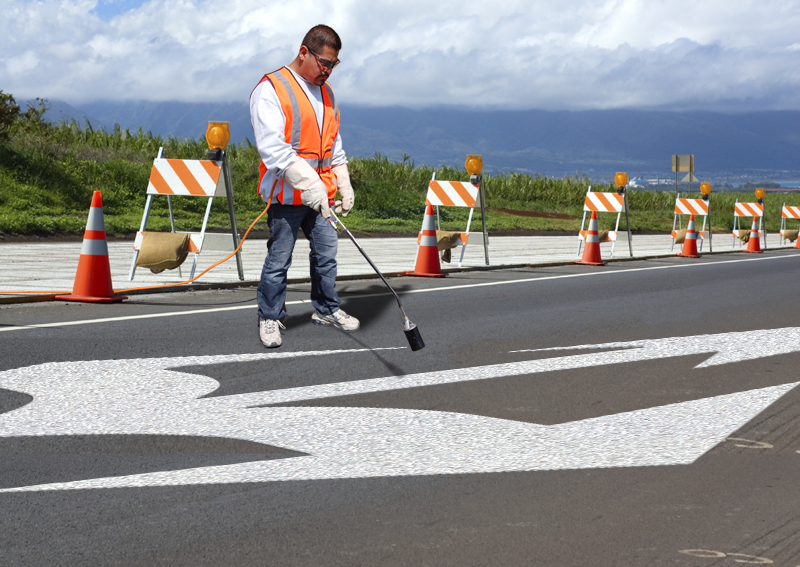 PR-TH-3555 - Combo Arrow Straight Left Right - Preformed Thermoplastic Item - MUTCD/FHWA