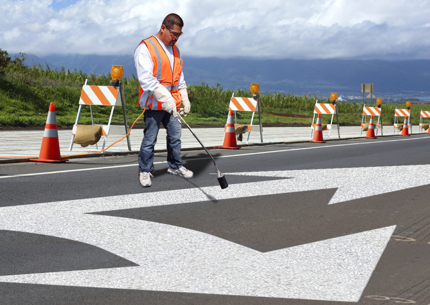 PR-TH-3528 - Combo Arrow Standard Right - Preformed Thermoplastic Item - MUTCD/FHWA