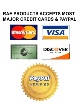 RAE Products accepts most major credit cards & Paypal